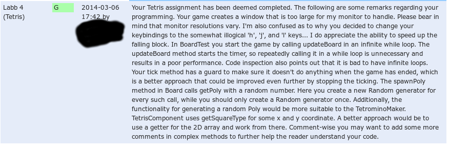 Detaljerad feedback på mitt tetris-spel.