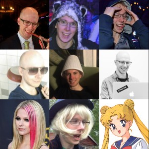 Kollage med profil-bilder: Ölkorv, Vargmössa, Drömmaren, Stekpanna, lampskärm, gråskala, avril, blondie, sailor moon