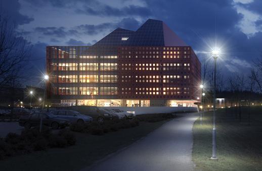 En illustration av LiUs nya byggnad Studenthus Valla