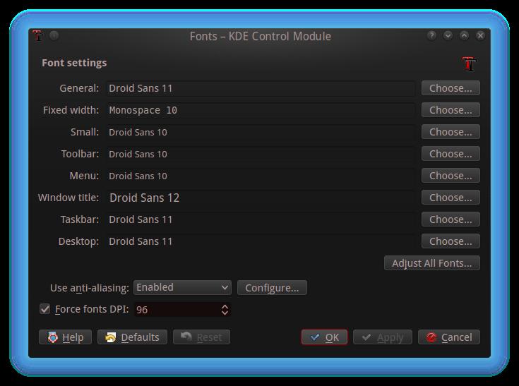 Font settings in KDE
