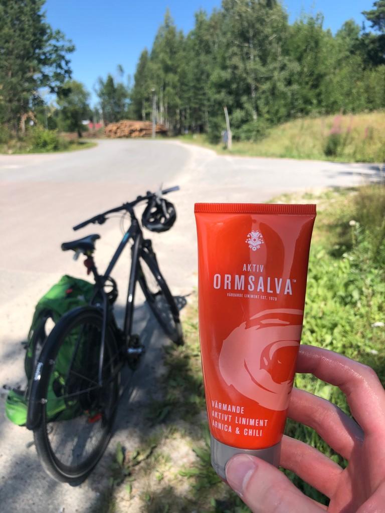 Ormsalva med cykeln i bakgrunden på vägen till Valskog