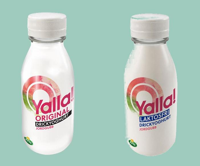 Två förpackningar Yoggi drickyoghurt. Den vänstra original och den högra laktosfri.