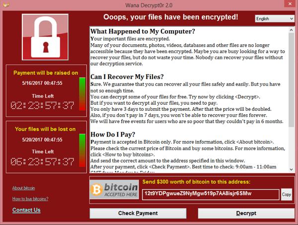 A screenshot of Wannacry